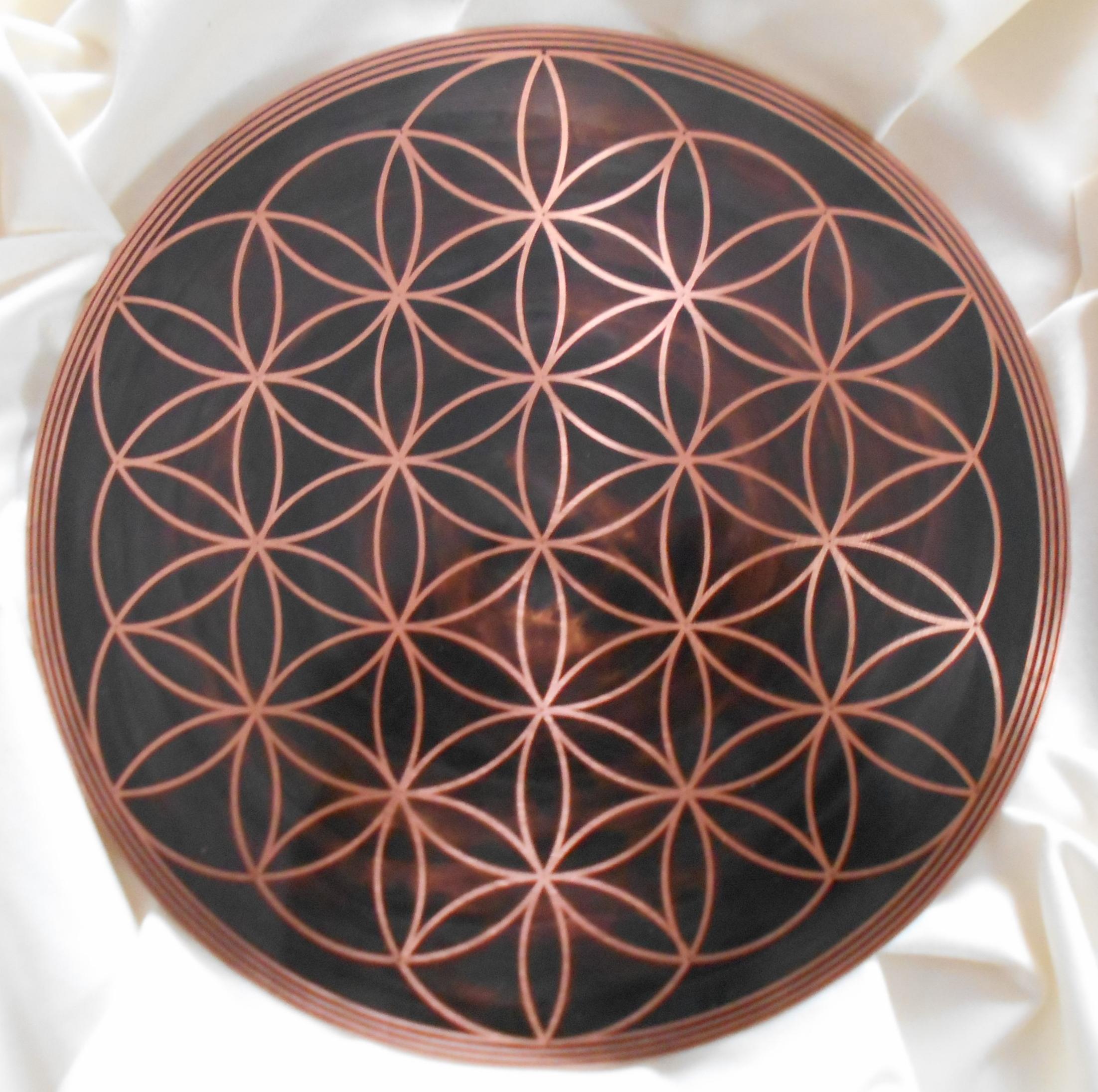 Fleur de vie en cuivre, création artisanale, fleur de vie faite main