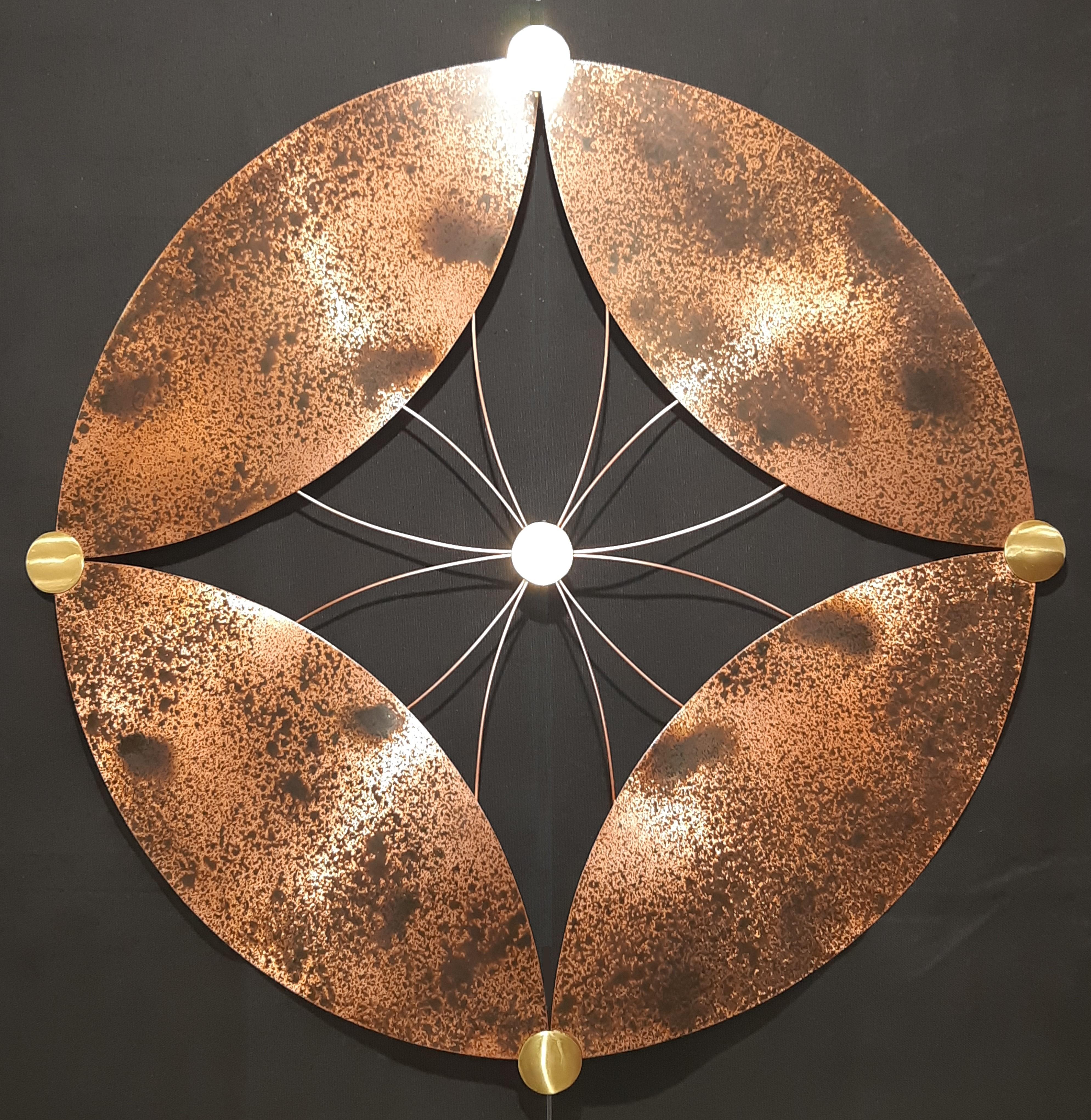 Naissance graine de vie, création murale métal, création cuivre