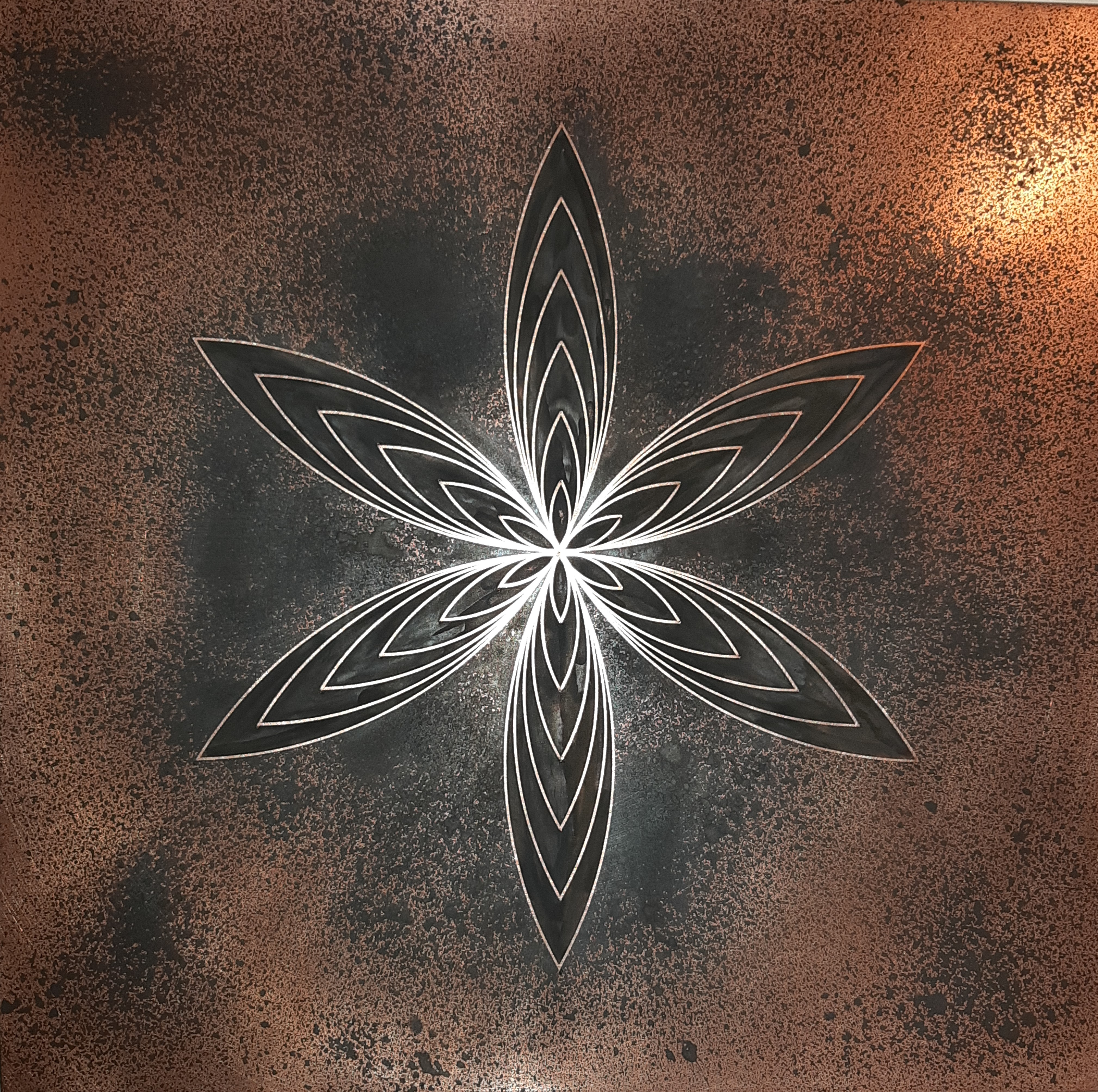 Tableau cuivre, tableau unique, naissance graine de vie