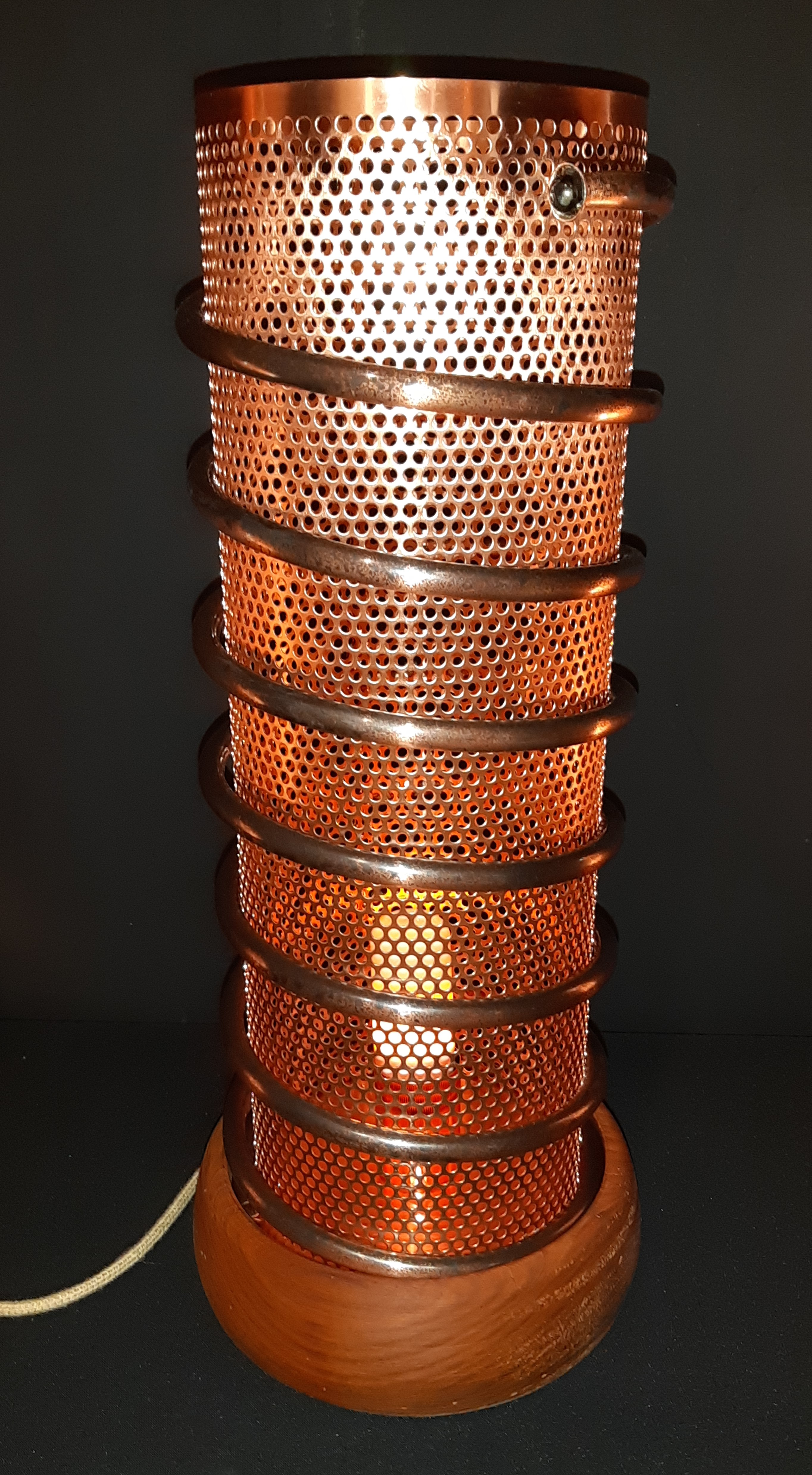 lampe cuivre et bois, lampe originale, lampe design