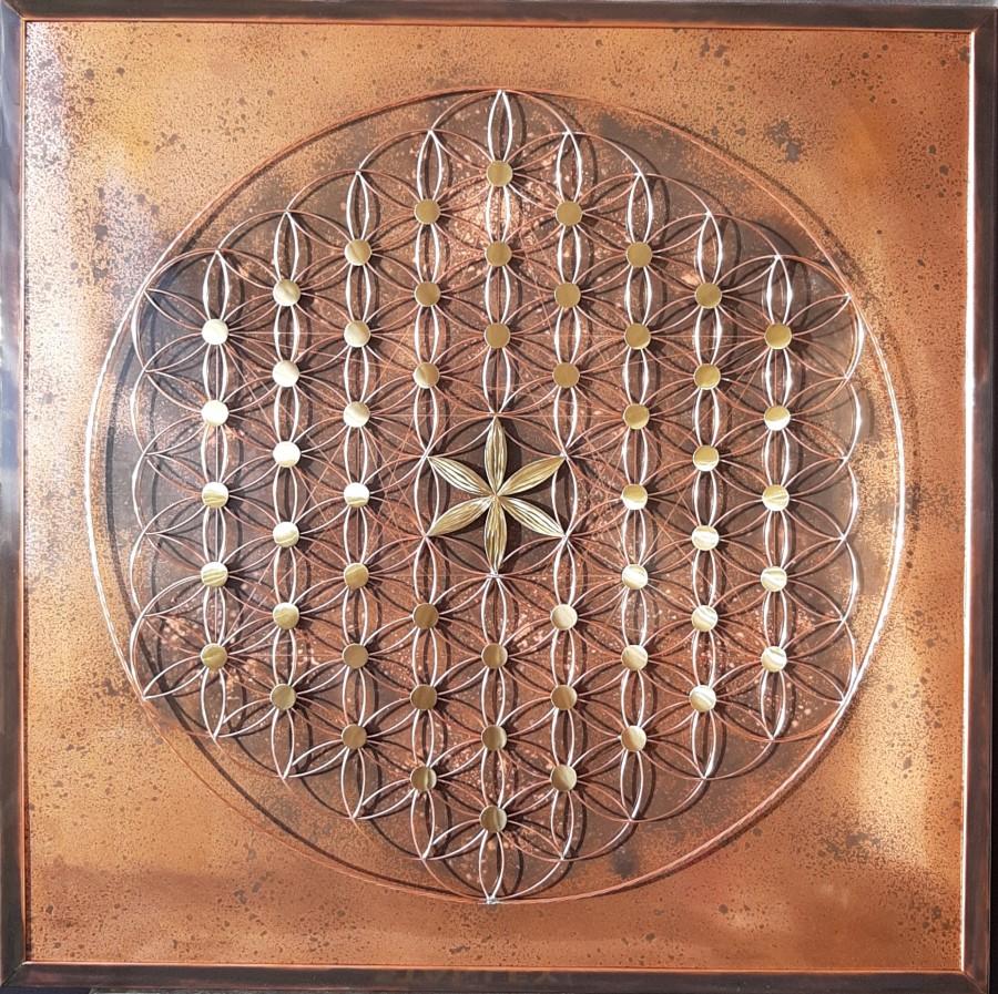 Tableau cuivre, tableau fleur de vie cube Métatron, tableau énergétique