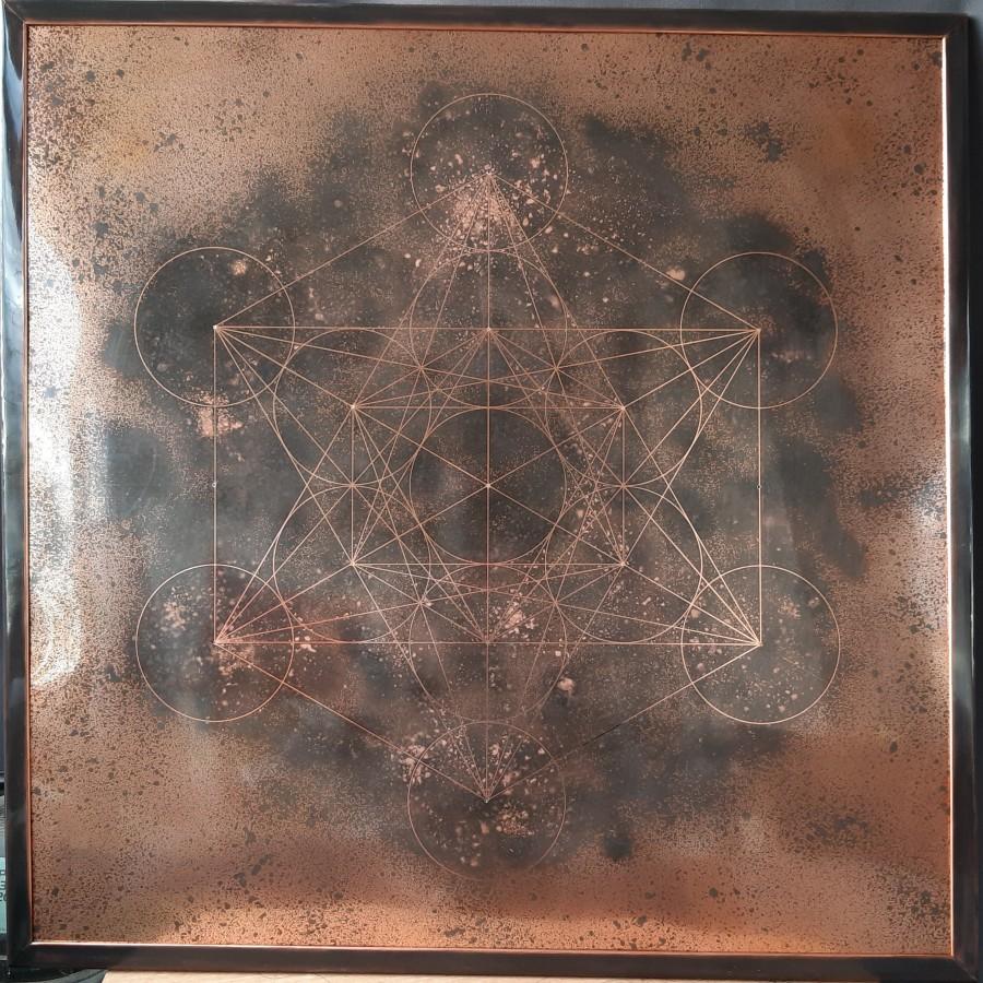 tableau cuivre cube Metatron, tableau vibratoire, tableau cuivre