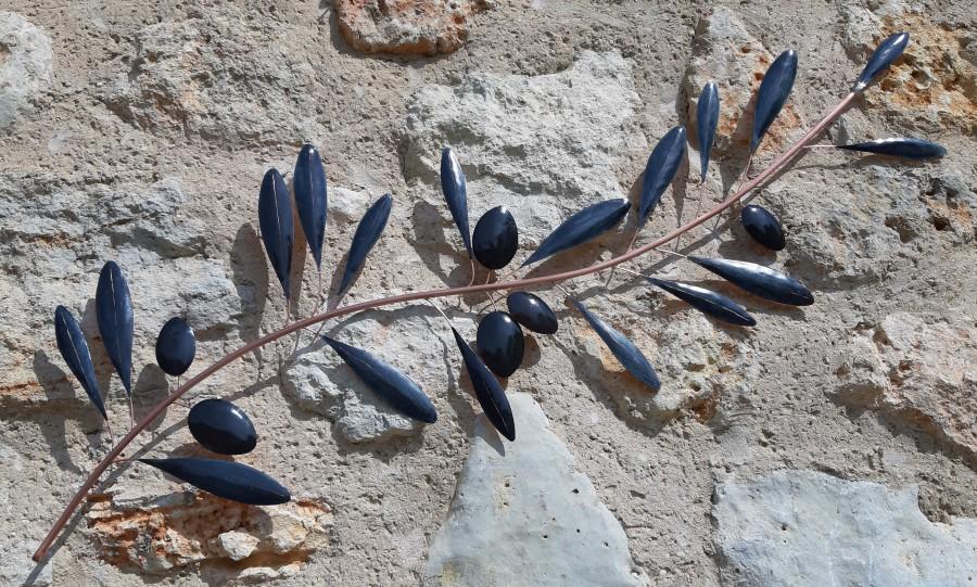 branche d'olivier cuivre, décoration branche d'olivier, décoration métal